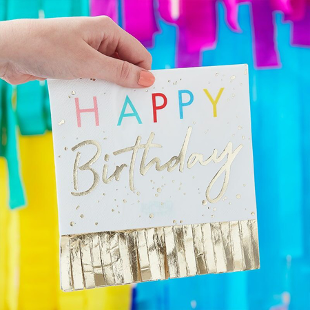 Ginger Ray® Papirnate serviete Happy Birthday Mix It Up Fringed Gold  16 kosov