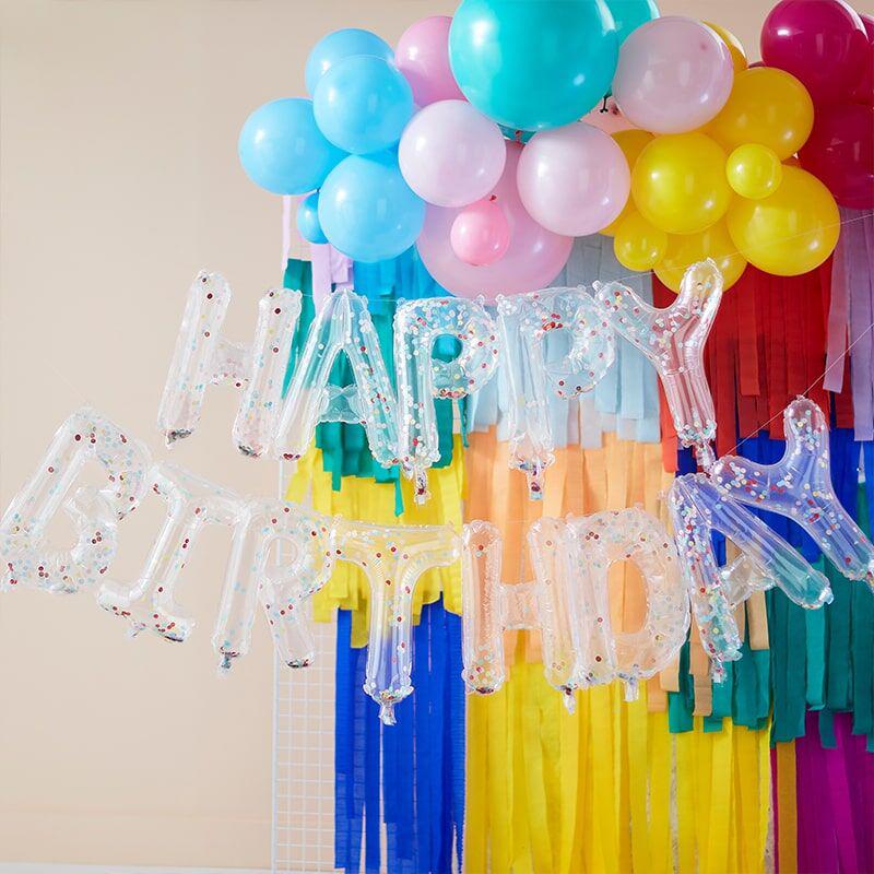 Ginger Ray® Napihljiv viseči napis  Happy Birthday Mix It Up Rainbow