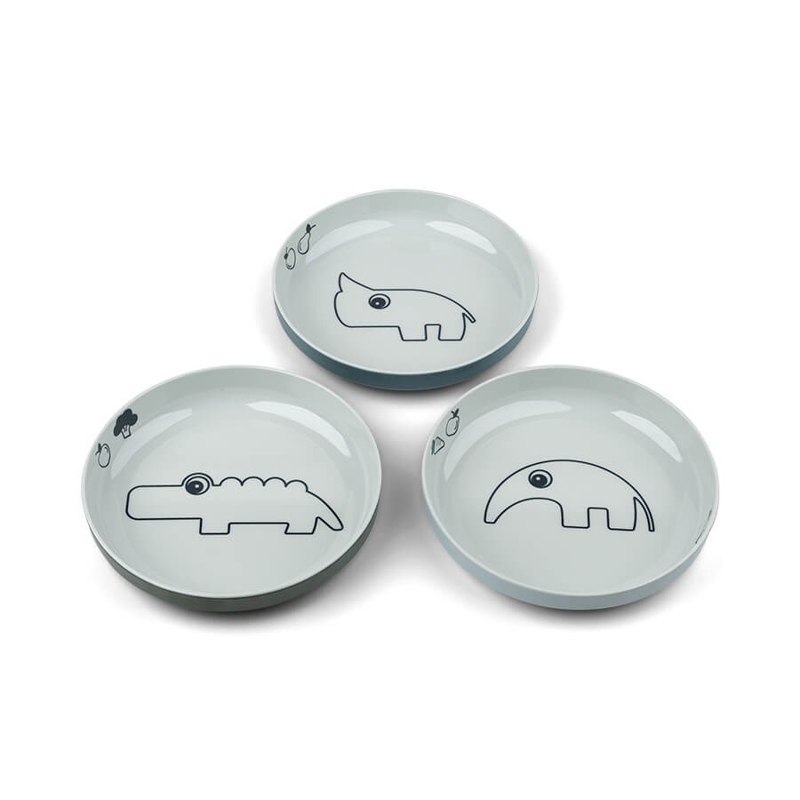 Done by Deer® Komplet 3 krožnikov Yummy Mini Blue