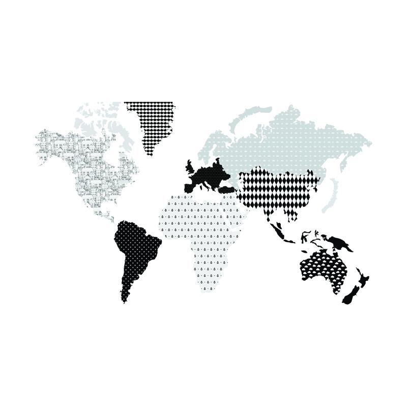 Dekornik® Stenska nalepka Zemljevid Sveta Black&White - M