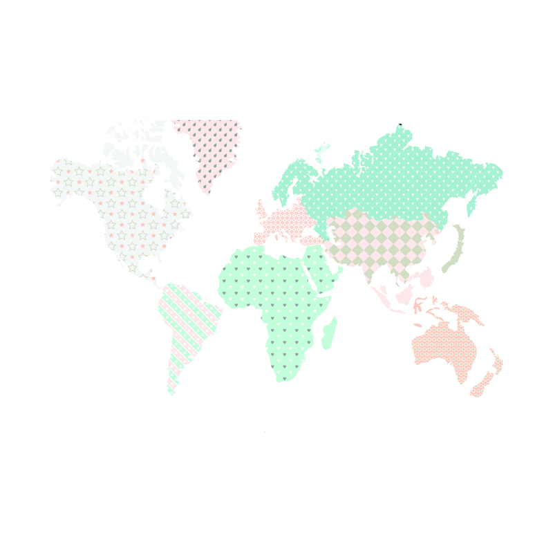 Dekornik® Stenska nalepka Zemljevid Sveta Pastel - M