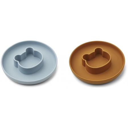 Liewood® Komplet silikonskih krožnikov Gordon Mr bear sea blue/mustard Mix