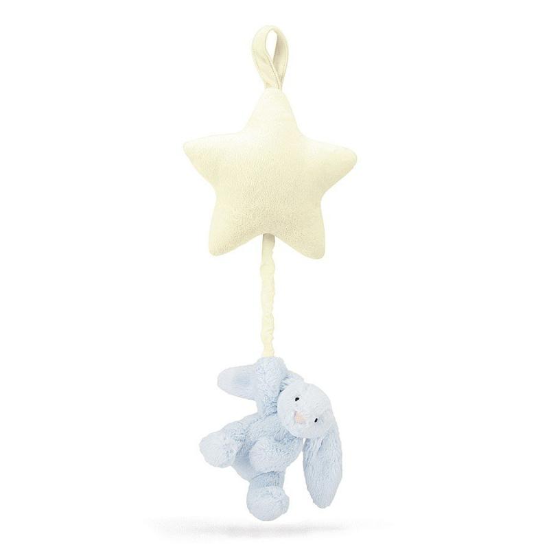Jellycat® Glasbena obešanka Bashful Blue Bunny 28cm