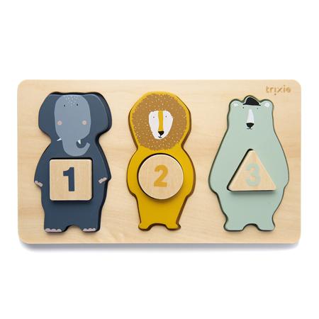 Slika Trixie Baby® Lesena sestavljanka s številkami in živalmi