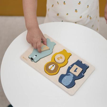 Trixie Baby® Lesena sestavljanka s številkami in živalmi