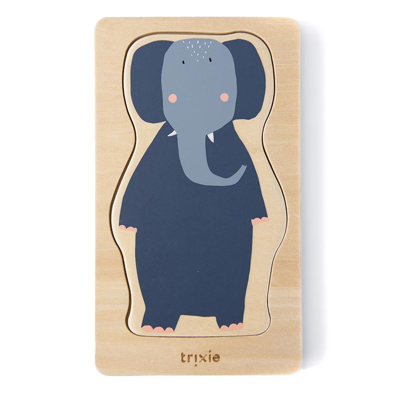 Trixie Baby® Štiri slojna lesena sestavljanka z liki živali