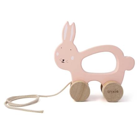 Trixie Baby® Lesena igrača na vrvici Mrs. Rabbit