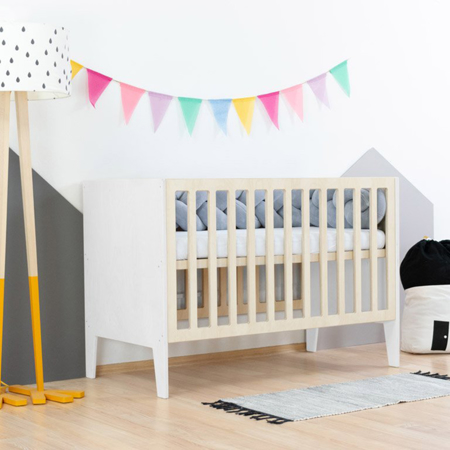 Slika Benlemi® Otroška posteljica Sleepy 120x60 White/Natural