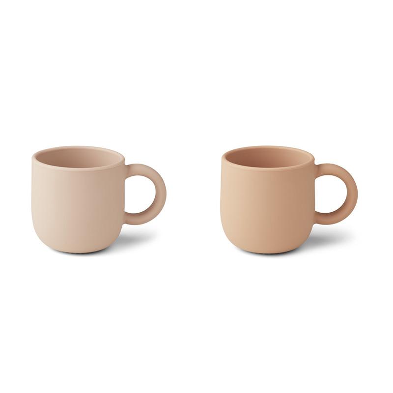 Liewood® Set dveh silikonskih skodelic z ročajem Merce Rose Mix