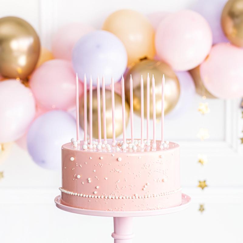 Party Deco Rojstnodnevne Svečke 14 cm Light Pink 12 kos