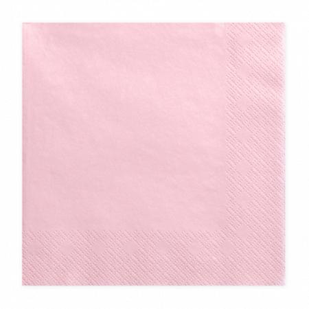 Party Deco® Troslojne Serviete Light Pink 20 kos
