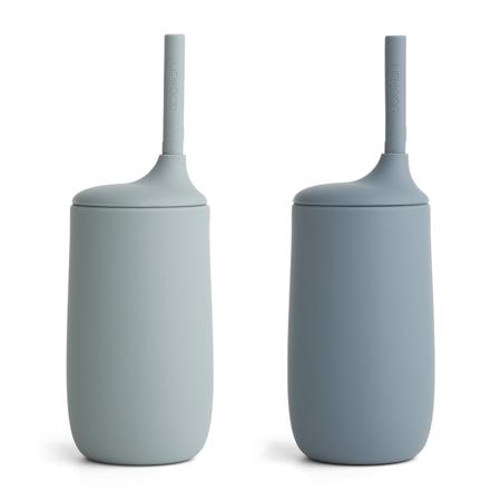 Liewood® Silikonska steklenička s slamico Dylan 2 kosa Blue Mix 300ml