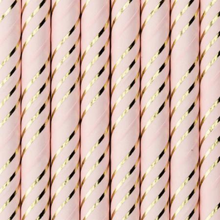 Party Deco® Papirnate Slamice Light Pink Golden 10 kos