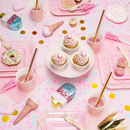 Party Deco® Papirnate Slamice Light Pink  10 kos