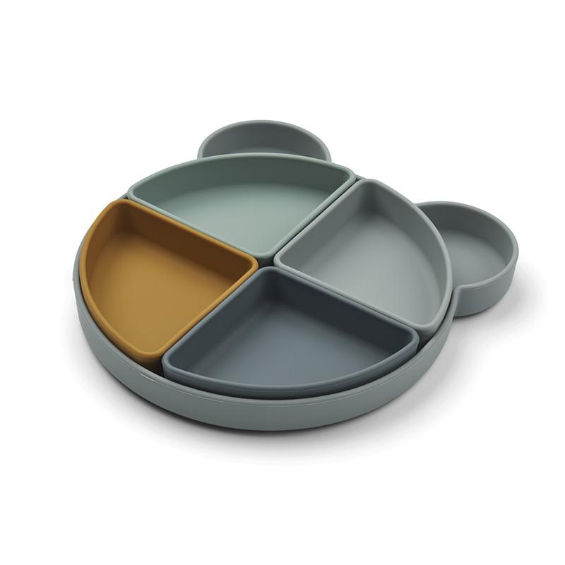 Liewood® Silikonski krožnik s štirimi posodicami Arne Mr Bear Blue Fog Multi Mix
