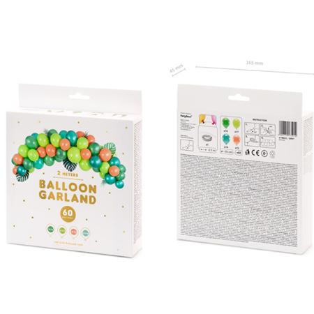Party Deco® Lok iz balonov Dino 60 kos