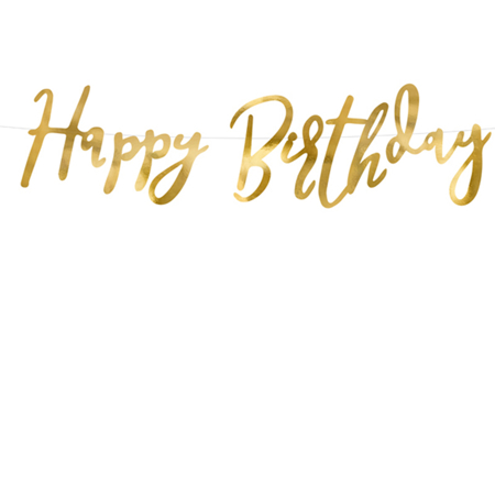 Party Deco® Viseči napis Happy Birthday Gold