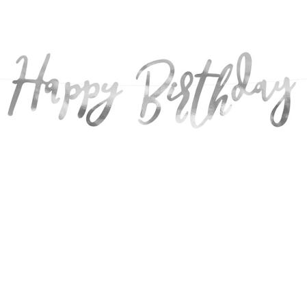 Party Deco® Viseči napis Happy Birthday Silver