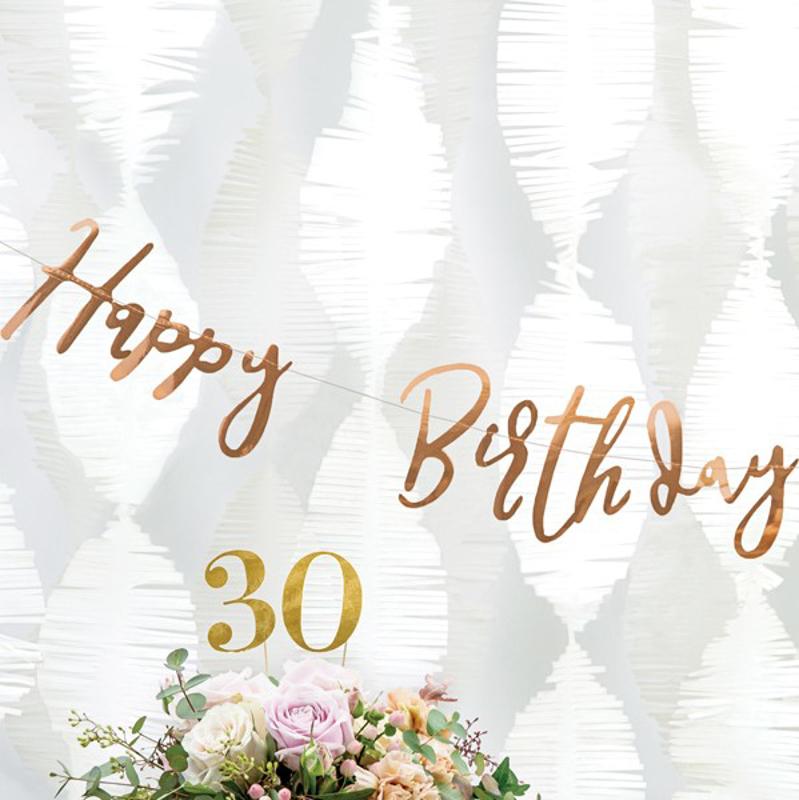 Party Deco® Viseči napis Happy Birthday Rose Gold