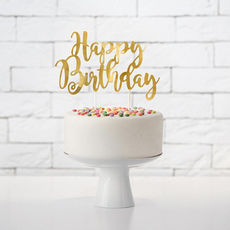 Party Deco® Napis za torto Happy Birthday Gold