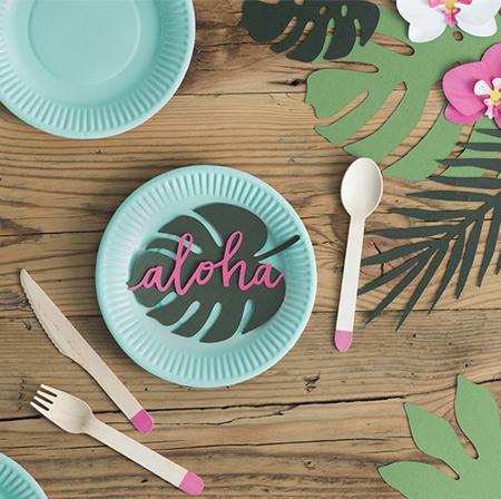 Party Deco® Namizna dekoracija Aloha Tropski Listi 21 kos