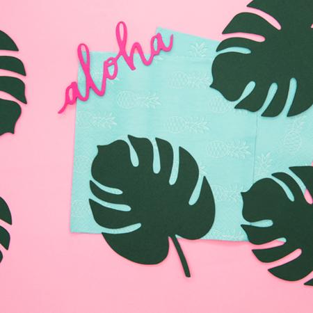 Party Deco® Namizna dekoracija Aloha Monstera 6 kos
