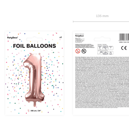 Party Deco® Balon v obliki številke 1 Rose Gold