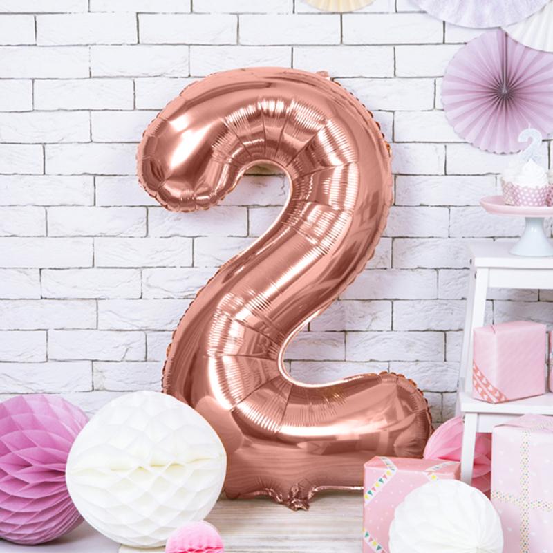 Party Deco® Balon v obliki številke 2 Rose Gold