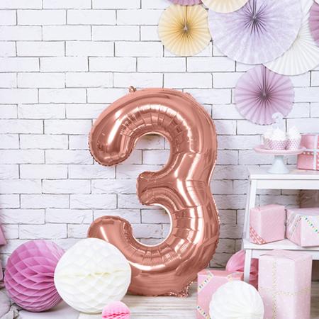 Slika Party Deco® Balon v obliki številke 3 Rose Gold