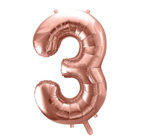 Party Deco® Balon v obliki številke 3 Rose Gold