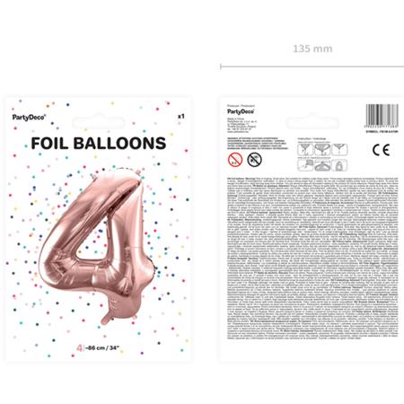 Party Deco® Balon v obliki številke 4 Rose Gold