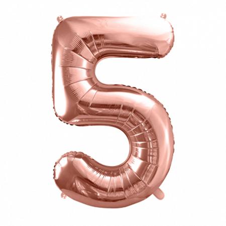 Party Deco® Balon v obliki številke 5 Rose Gold