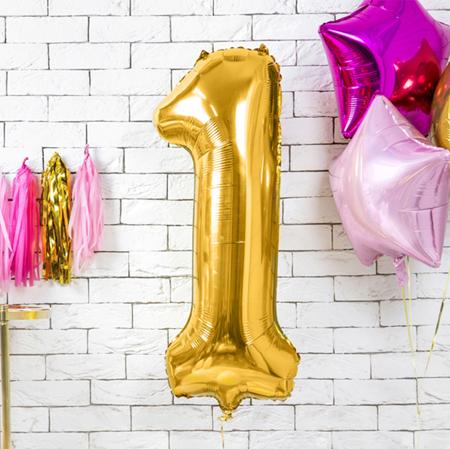 Party Deco® Balon v obliki številke 1  Gold