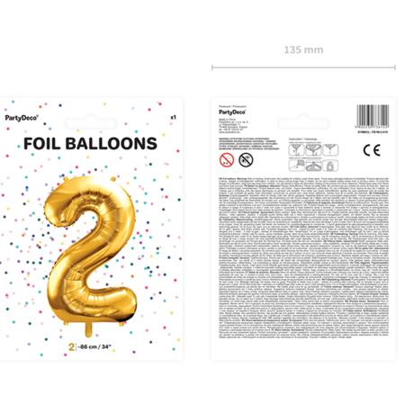 Party Deco® Balon v obliki številke 2 Gold