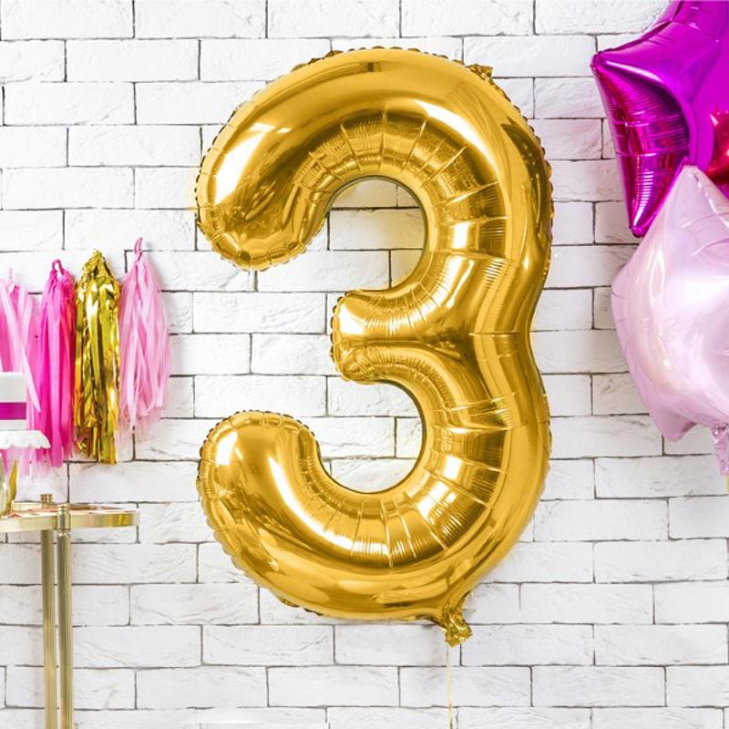 Party Deco® Balon v obliki številke 3  Gold