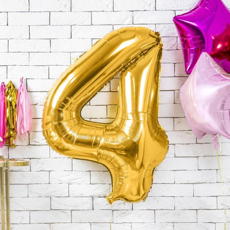 Party Deco® Balon v obliki številke 4 Gold