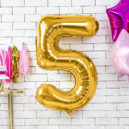 Party Deco® Balon v obliki številke 5 Gold