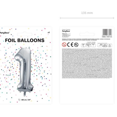 Party Deco® Balon v obliki številke 1 Silver