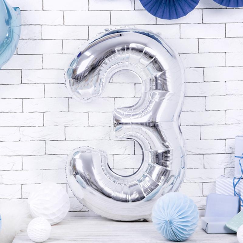 Party Deco® Balon v obliki številke 3  Silver