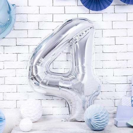 Slika Party Deco® Balon v obliki številke 4 Silver