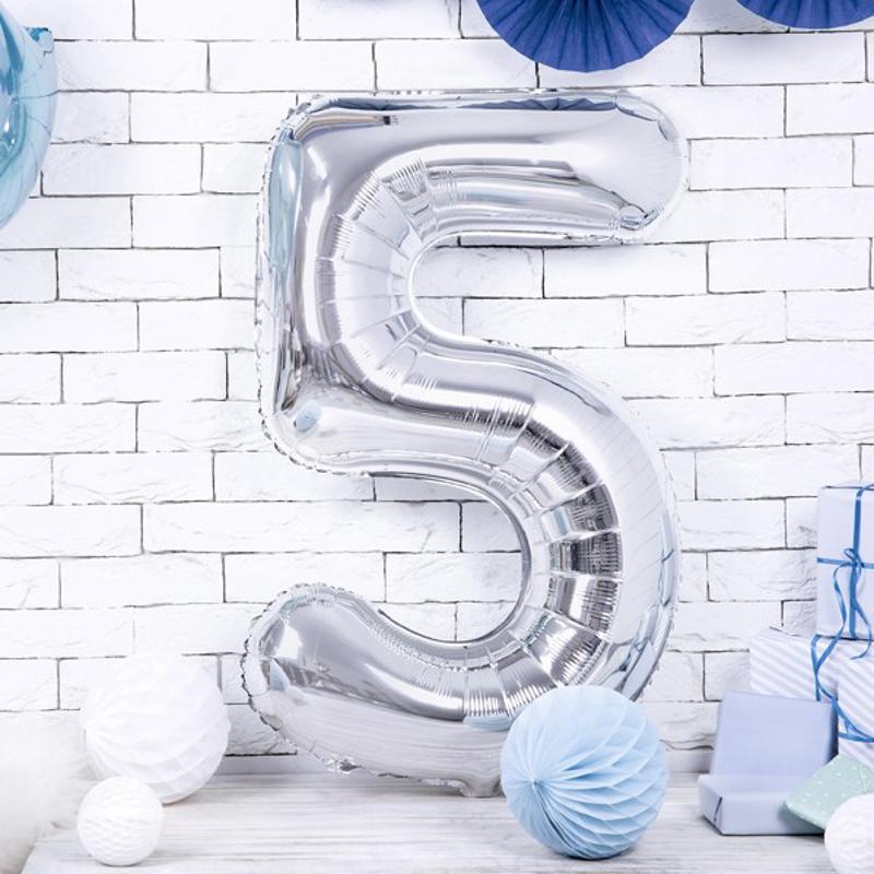 Party Deco® Balon v obliki številke 5 Silver