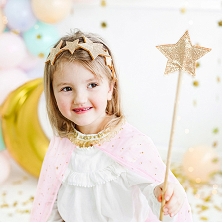 Party Deco® Naglavni obroč Zvezde Gold