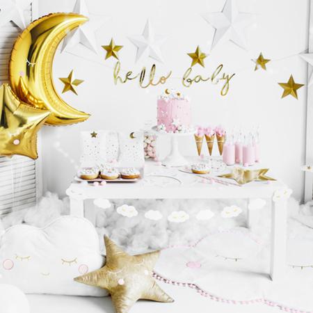 Party Deco® Viseči Little Star Hello Baby Gold