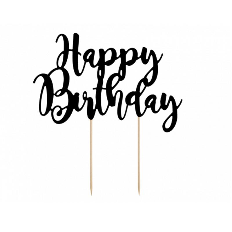 Party Deco® Napis za torto Happy Birthday Black 22.5 cm