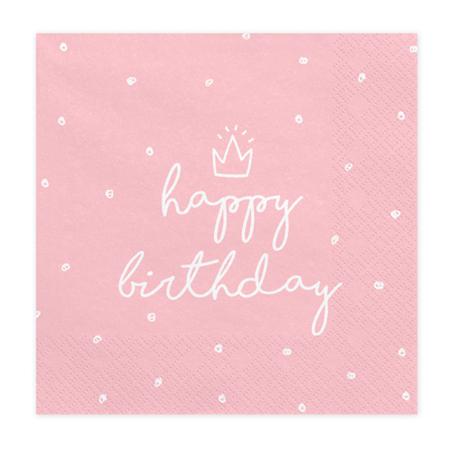 Party Deco® Troslojne Serviete Happy Birthday 20 kos