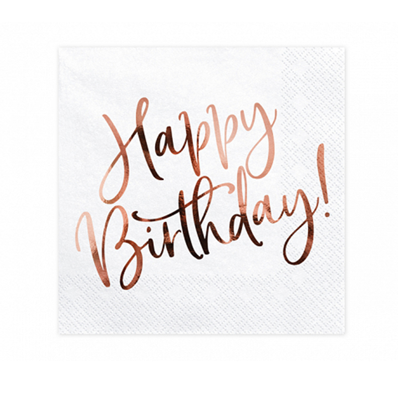 Party Deco® Troslojne Serviete Happy Birthday White 20 kos