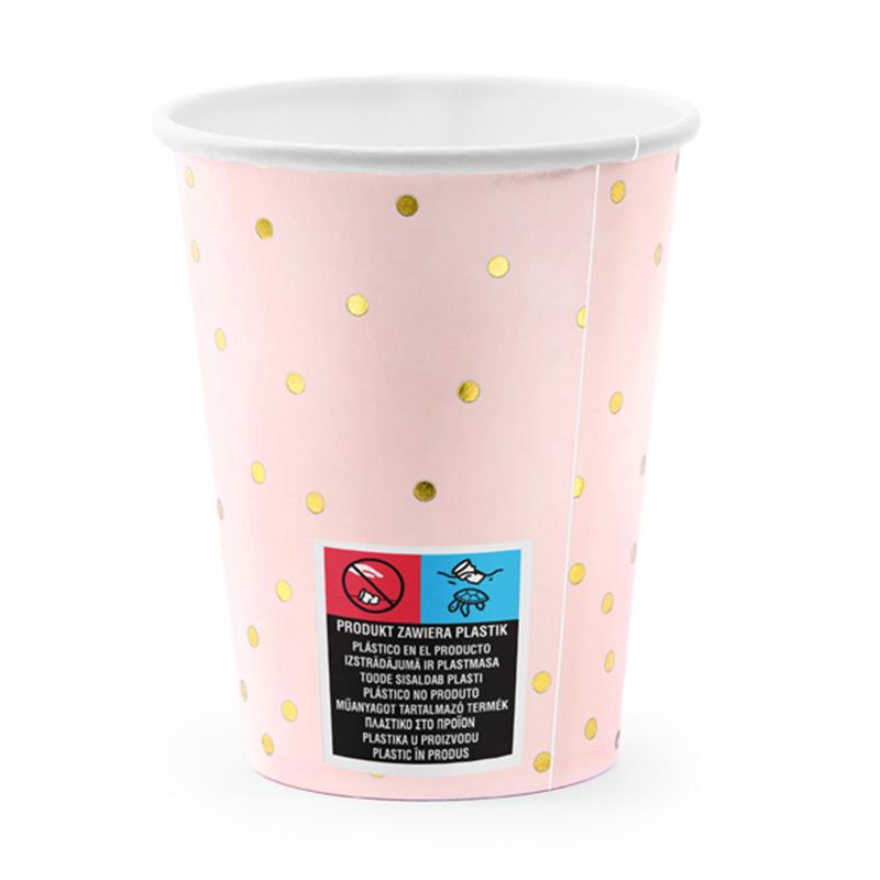 Party Deco® Kozarčki Pikice Light Pink 260ml 6 kos