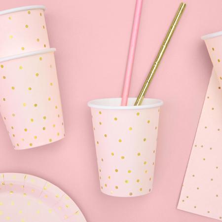 Slika Party Deco® Kozarčki Pikice Light Pink 260ml 6 kos