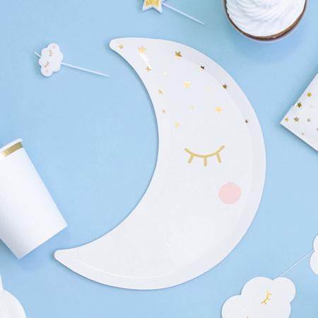 Party Deco® Krožnički Mala Zvezda-Luna White 6 kos
