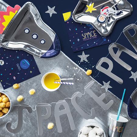 Party Deco® Papirnati krožniki Vesoljska zabava Raketa 6 kos